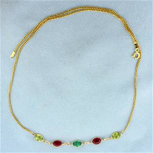 5ct TW Lab Emerald, Lab Ruby, and Peridot Necklace in
