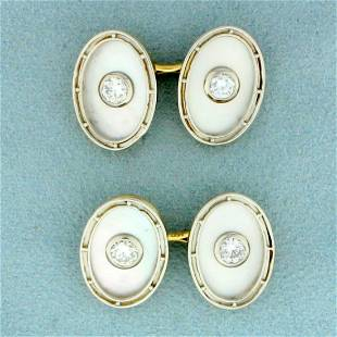 1ct TW Diamond and Mother of Pearl French Cufflinks in