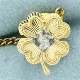 Four Leaf Clover Diamond Tie Tack in 14K Yellow and