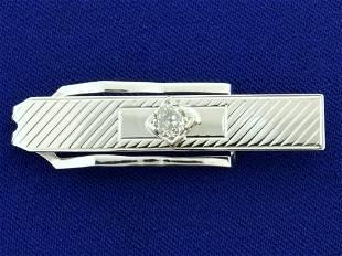 Vintage 1/2ct Old European Cut Diamond Tie Clip in 10k