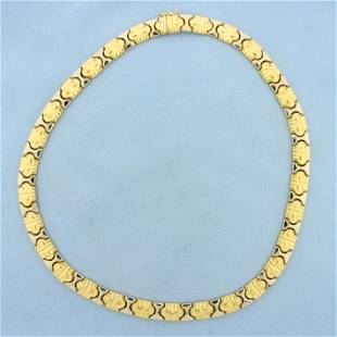 Designer Link Two Tone Necklace in 18K Yellow and White