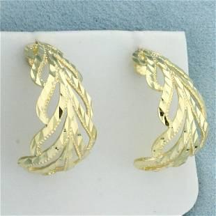 Diamond Cut J Hoop Earrings in 14K Yellow Gold