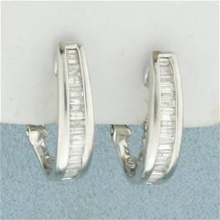 Baguette Diamond Hoop Earrings in 10K White Gold