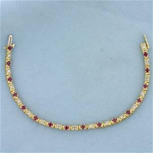 2.5ct TW Ruby and Diamond Tennis Bracelet in 14K Yellow