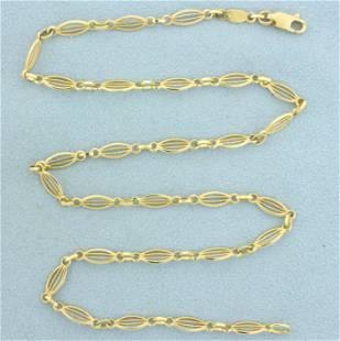 Italian Made 17 Inch Designer Link Necklace in 14K