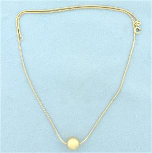 Italian Made Ball Bead Snake Link Necklace in 14k