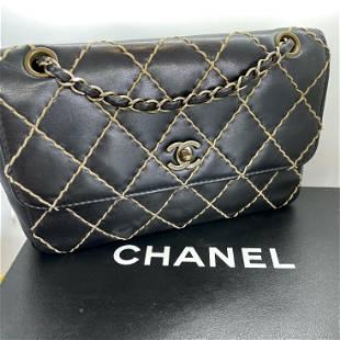 Authentic Chanel Shoulder Bag Wild Stitch Classic