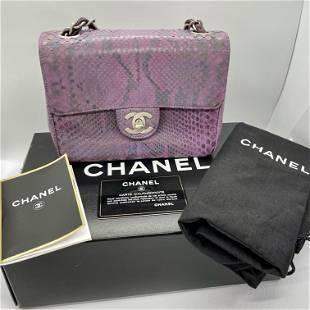 Authentic Chanel Flap Bag Exotic Iridescent Purple