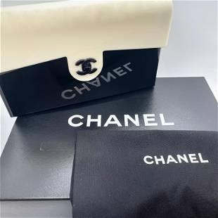 Authentic Chanel Medium Flap Bag Black and Ivory Plexi