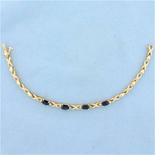 2ct TW Natural Sapphire and Diamond Bracelet in 14K