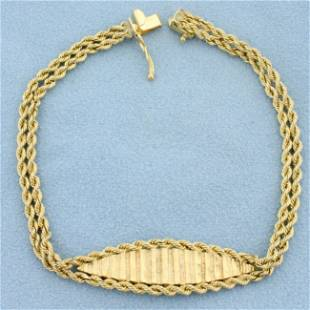 Diamond Cut Double Rope Style Bracelet in 14K Yellow