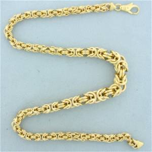 Italian Made Graduated Byzantine Link Necklace in 14K