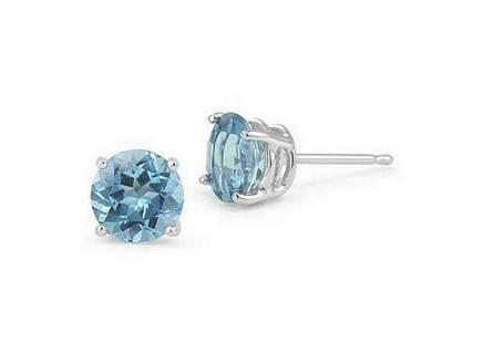 2CTW Sky Blue Topaz 4-Prong Stud Earrings in Sterling
