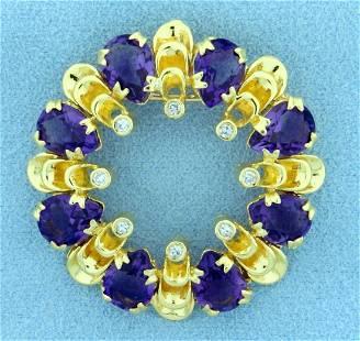 Designer Amethyst and Diamond Pendant or Pin in 18K