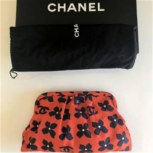 Authentic Chanel Clutch Bag Red White Blue Floral