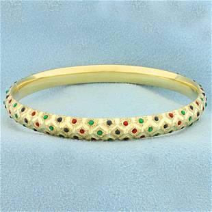 Lab Ruby, Emerald, and Sapphire Bangle Bracelet in 14K