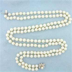 Vintage Akoya Pearl Double Strand Necklace in 14K White