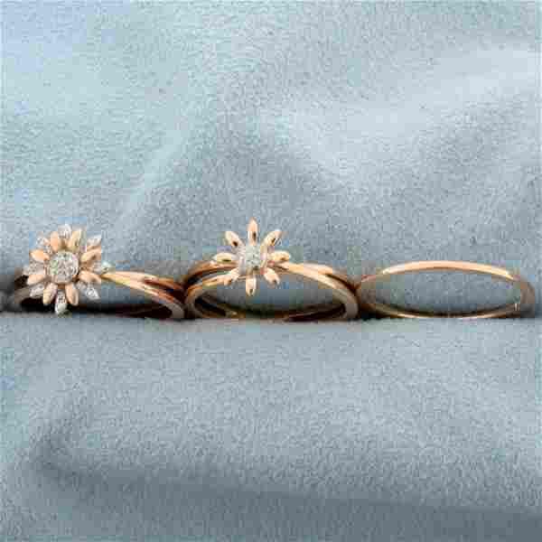 Effy Diamond Flower Three Ring Set in 14K Rose Gold
