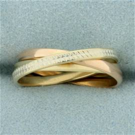 Italian Made Tri-Color Rolling Ring in 14K Yellow,