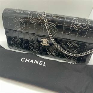 Authentic Chanel 3-Way Flap Bag Black Patent Camellia