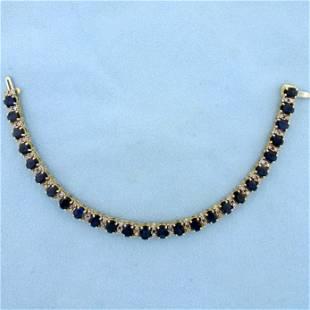 13ct Sapphire and Diamond Tennis Line Bracelet in 14K