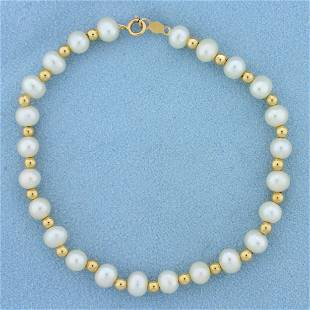 Cultured Pearl and Gold Bead Bracelet in 14K Yellow