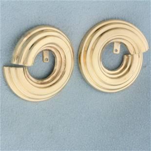 Hoop Stud Earring Enhancers in 14K Yellow Gold