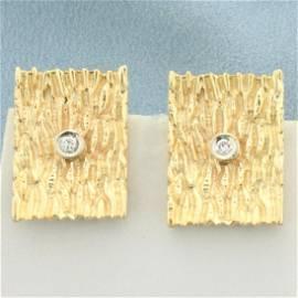 Wood Grain Design Diamond Earrings in 14K Yellow Gold