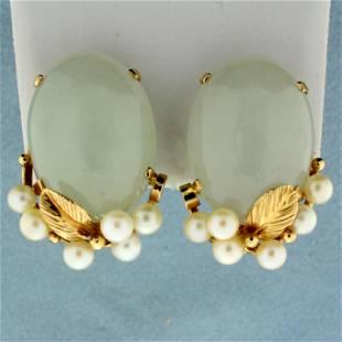 Designer Ming's Jade and Pearl Earrings in 14K Yellow