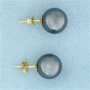 10mm Obsidian Ball Stud Earrings in 14K Yellow Gold