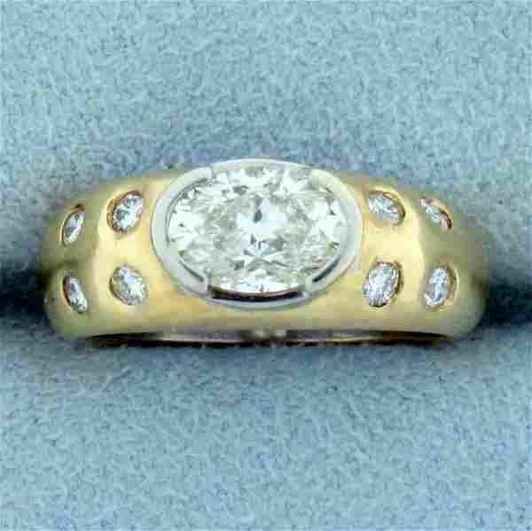 Designer 1.5ct TW Oval Diamond Engagement Ring in 14K