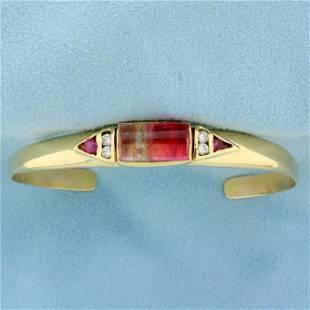 Designer Morganite and Diamond Bangle Bracelet in 14K