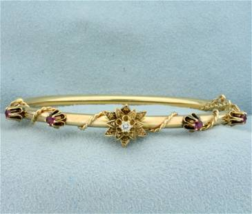 Ruby and Diamond Bangle Bracelet in 14K Yellow Gold