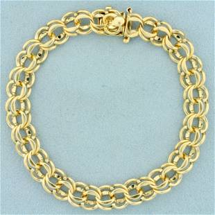 8 Inch Double Link Charm Bracelet in 14K Yellow Gold