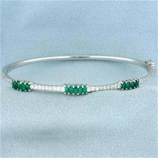 2ct TW Emerald and Diamond Bangle Bracelet in 18K White