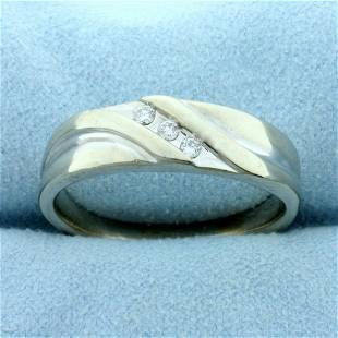 Mens Vintage Diamond Wedding Band Ring in 10K White