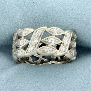 Vintage 1ct TW Diamond Milgrain Wide Band Ring in 14K
