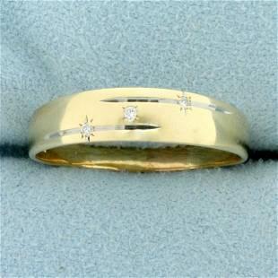 Mens Diamond Wedding Band Ring in 14K Yellow Gold