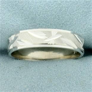 Mens Diamond Cut Band Ring in 14K White Gold