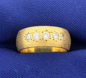 Unique Textured 1/2ct TW Diamond Band Ring in 14k