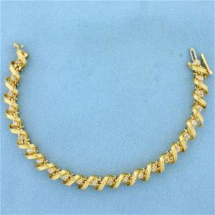 Designer 1ct TW Diamond Spiral Link Tennis Bracelet in