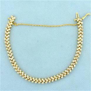 3ct Tw Diamond Chevron Design Tennis Bracelet in 14K