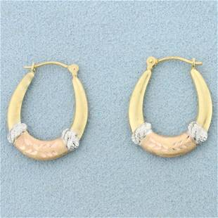 Tri Tone Hoop Earrings in 14K Yellow, White, and Rose
