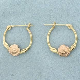 Rose Hoop Earrings in 14K Rose and Yellow Gold