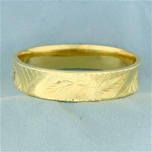 Flower Design Bangle Bracelet in 14K Yellow Gold