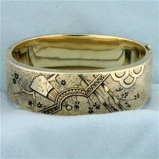 Vintage Engraved and Enameled Bangle Bracelet in 12K