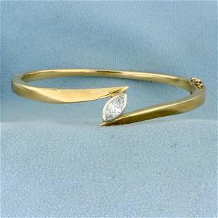 1.1ct Diamond Solitaire Bangle Bracelet in 14K Yellow