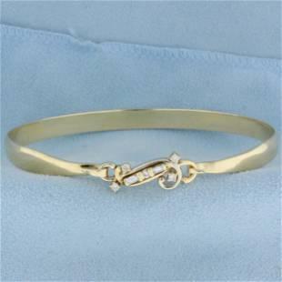 Baguette and Round Diamond Bangle Bracelet in 14K