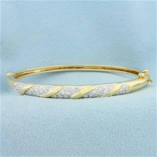 Diamond Bangle Bracelet in 14K Yellow and White Gold