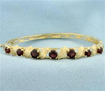 Garnet Leaf Design Bangle Bracelet in 14K Yellow Gold